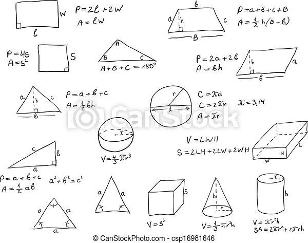 eps vektor von hand geschrieben geometrie formeln hintergrund hand csp16981646. Black Bedroom Furniture Sets. Home Design Ideas