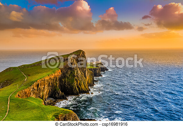 Colorful ocean coast sunset at Neist point lighthouse, Scotland - csp16981916