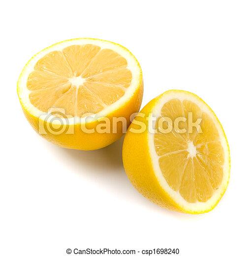 新たに, レモン, 半分 - csp1698240 新たに, レモン, 半分, 白, 背景お気に