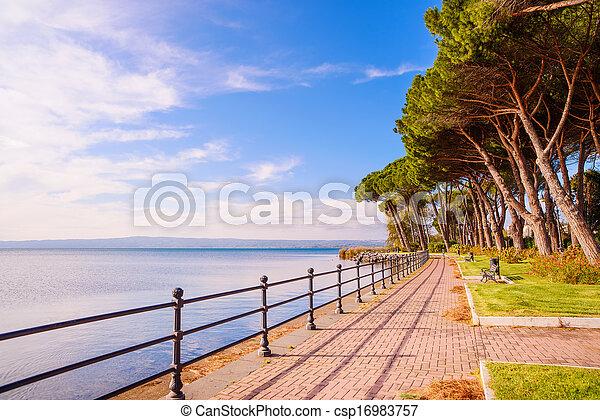 Promenade and pine trees in Bolsena lake, Italy. - csp16983757