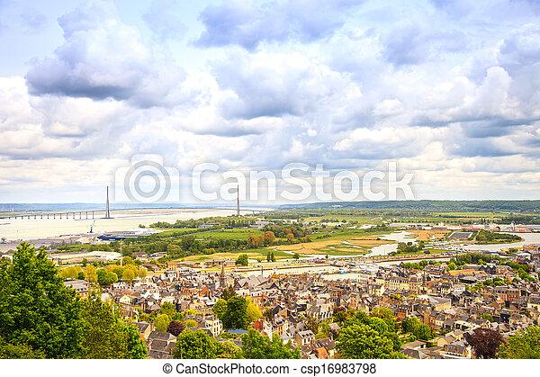 Honfleur village and seine river aerial view. Normandy, France - csp16983798