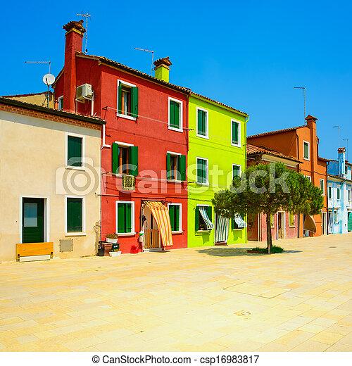 Venice landmark, Burano island street, colorful houses, Italy - csp16983817