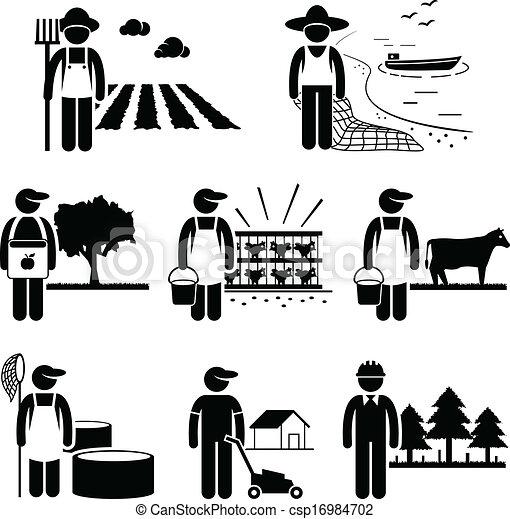 矢量-农业, 种植园, 农场, 工作