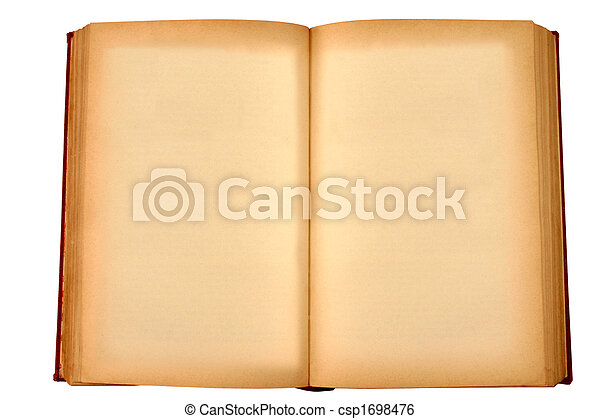 An old book with blank yellow stained pages - csp1698476
