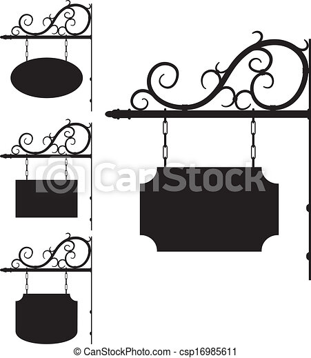 wrought iron signs for old-fashioned design - csp16985611