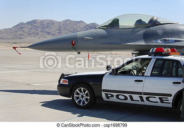 Military Fighter Aircraft Police Car Ground Display - csp1698799