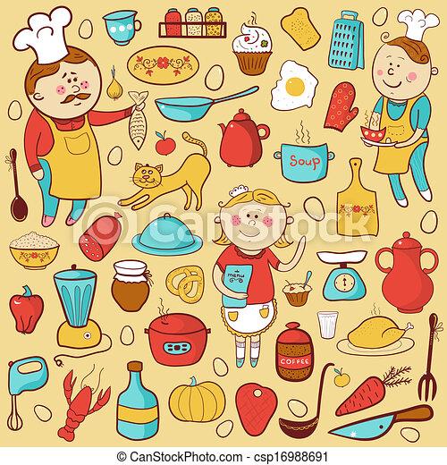 Eps vectores de elementos colorido conjunto vector for Elementos cocina