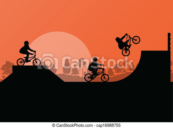 Cycling bmx silhouette vector background for poster