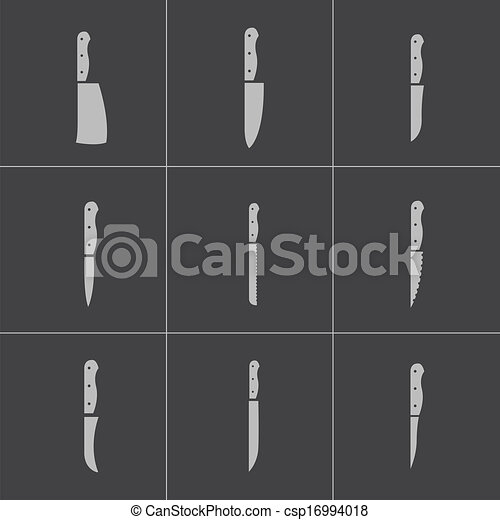 Kitchen Knife Vector vector clip art of vector black kitchen knife icons set