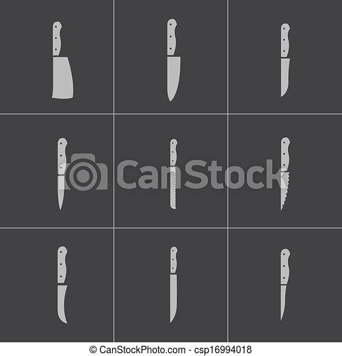 Kitchen Knife Vector vector clip art of vector black kitchen knife icons set