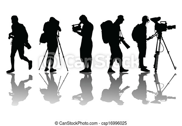 Vector Illustration of Cameramen and camcorder video operator ...