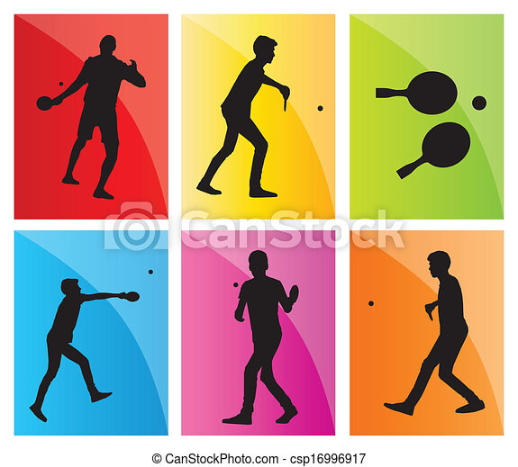 Vector Clip Art of Table tennis player silhouette ping pong set ...