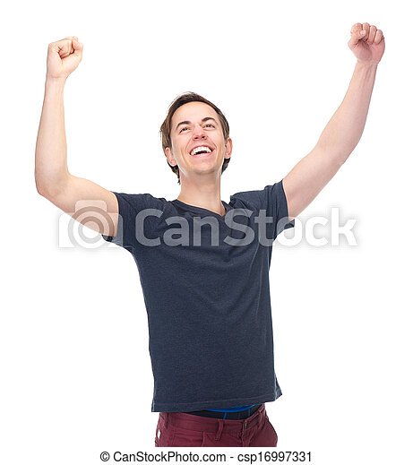 Portrait of a smiling man with arms raised in success - csp16997331