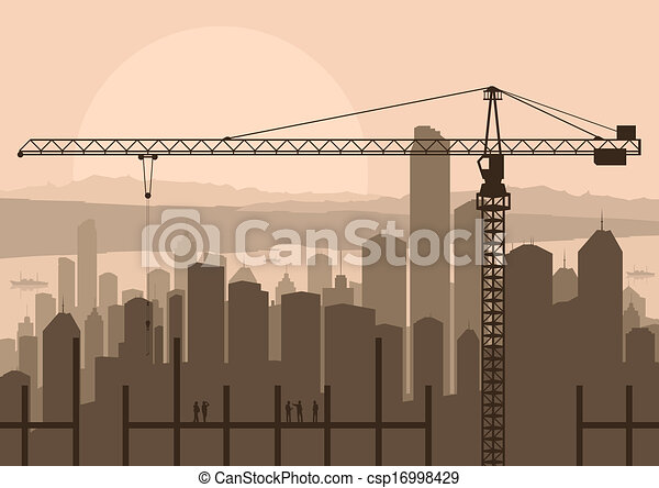 Vector Illustration of Industrial skyscraper city and construction ...