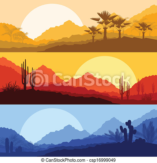Desert wild nature landscapes with cactus and palm tree plants