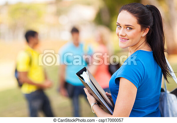 female university student outdoors - csp17000057