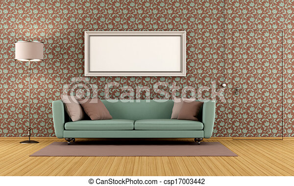 Drawing Of Living Room With Vintage Wallpaper And Door Flush With The Csp17003442 Search