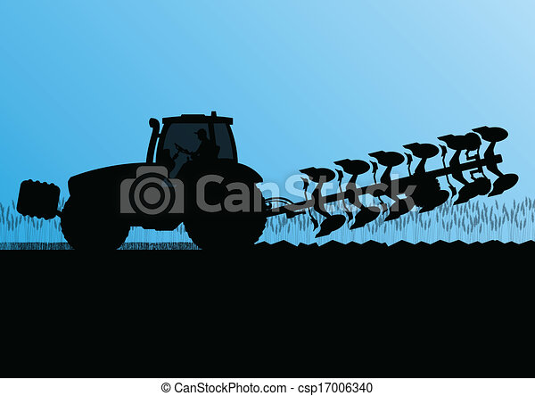 Agriculture tractor plowing the land in cultivated country grain field landscape background illustration vector - csp17006340