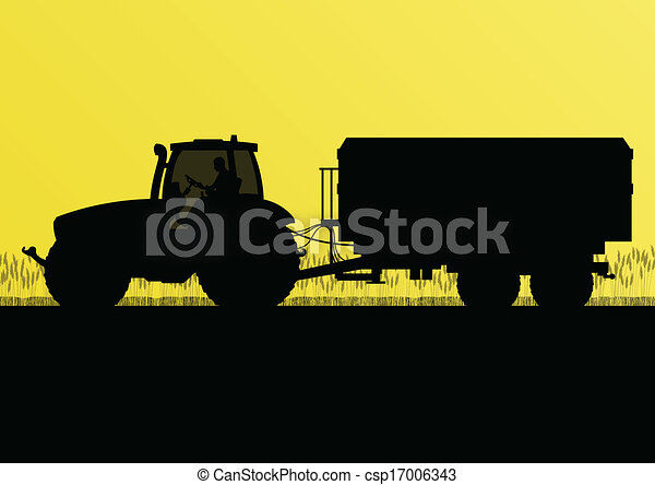Agriculture tractor with corn trailer in cultivated country grain field landscape background illustration vector - csp17006343