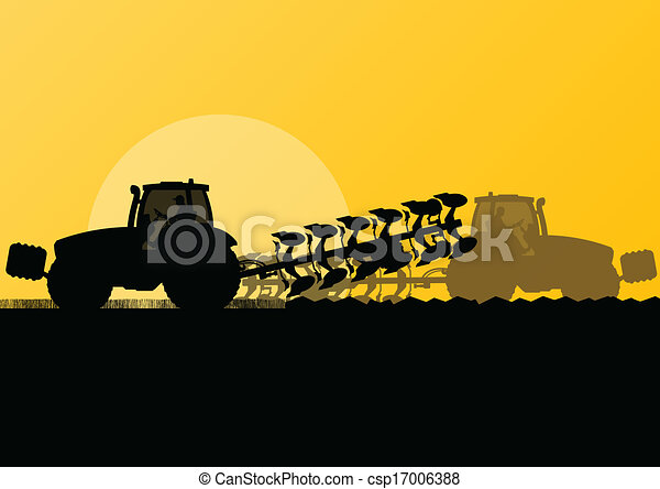 Agriculture tractor plowing the land in cultivated country grain field landscape background illustration vector - csp17006388