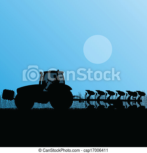 Agriculture tractor plowing the land in cultivated country grain field landscape background illustration vector - csp17006411