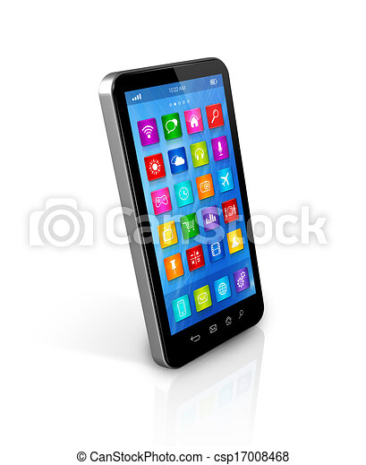 stock illustration smartphone touchscreen hd apps. Black Bedroom Furniture Sets. Home Design Ideas