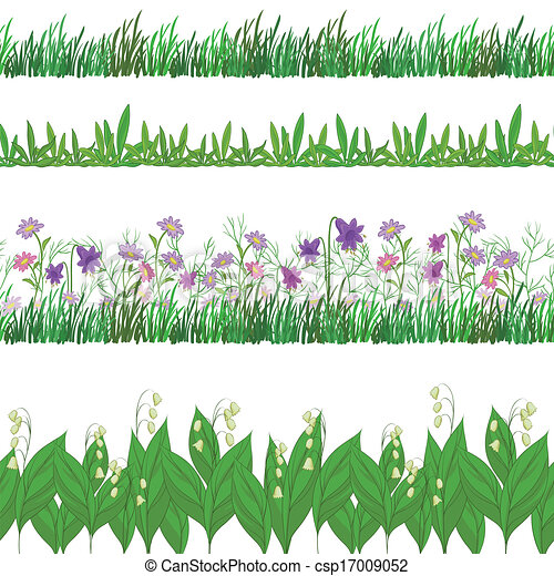 Grass and flowers, set seamless - csp17009052