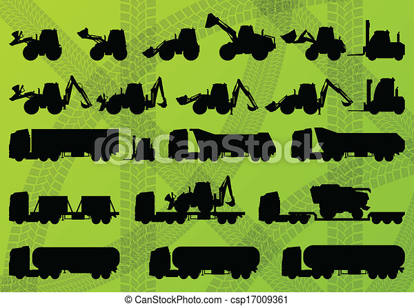 Agriculture industrial farming equipment tractors, trucks, harvesters, combines and excavators detailed silhouettes illustration collection background vector - csp17009361