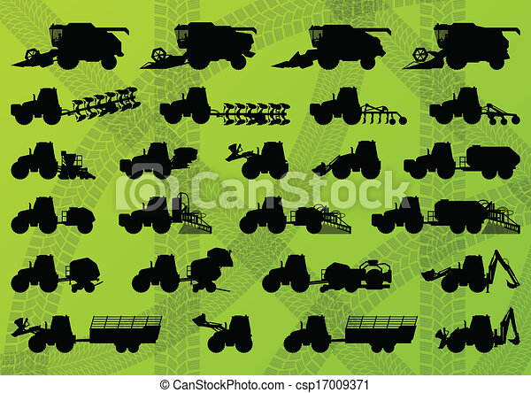 Agriculture industrial farming equipment tractors, trucks, harvesters, combines and excavators detailed silhouettes illustration collection background vector - csp17009371