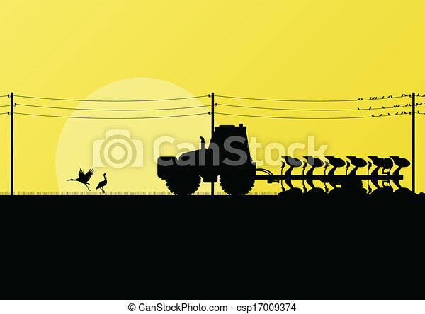 Agriculture tractor plowing land in cultivated country fields landscape background illustration vector - csp17009374