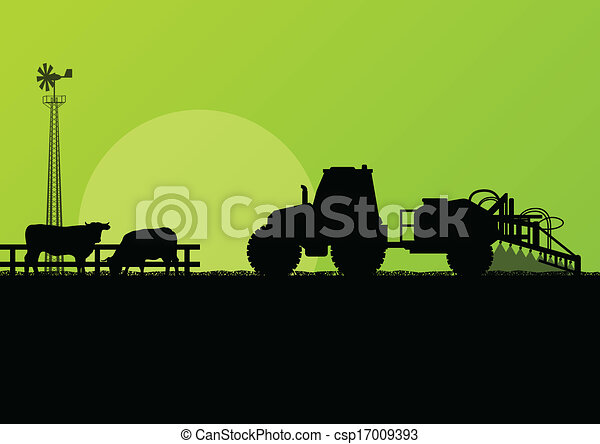 Agriculture tractor and beef cattle in cultivated country fields landscape background illustration vector - csp17009393
