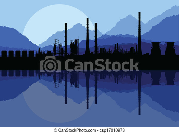 Industrial oil refinery factory landscape illustration collection background vector - csp17010973
