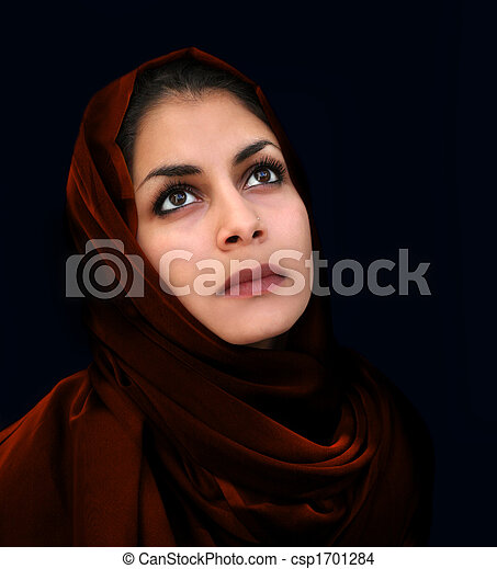 Arab girl in red scarf - csp1701284