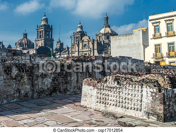 Templo mayor, the historic center of Mexico city - csp17012854