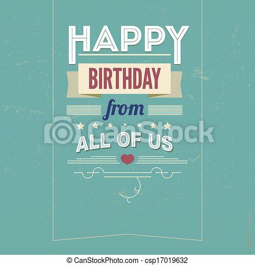 Vintage retro happy birthday card, with fonts - csp17019632