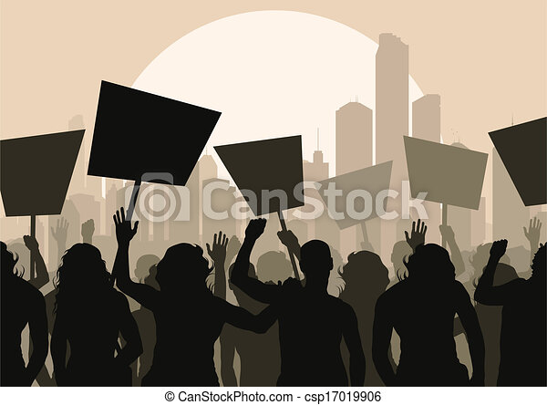 Protesters crowd vector background - csp17019906