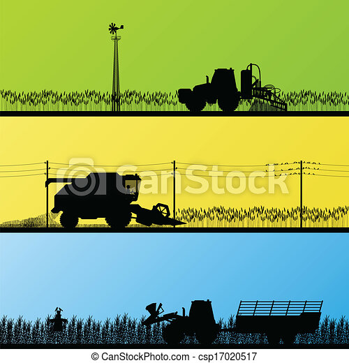 Agriculture tractors and harvesters in cultivated country fields landscape background illustration vector - csp17020517