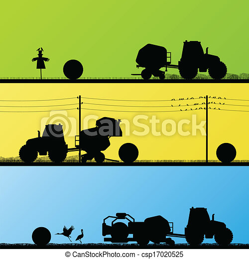 Agriculture tractors making hay bales in cultivated country fields landscape background illustration vector - csp17020525