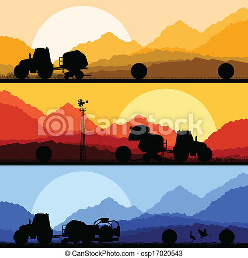 Agriculture tractors making hay bales in cultivated country fields landscape background illustration vector - csp17020543