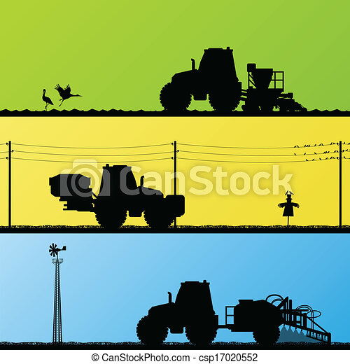 Agriculture tractors sowing crop, cultivating and spraying in cultivated country fields landscape background illustration vector - csp17020552