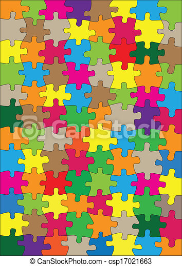 Colorful jigsaw puzzle vector background - csp17021663
