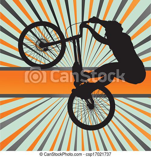 Vector - Mountain biking burst vector background - stock illustration ...