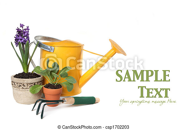 Spring Time Gardening With Watering Can, Trowel and Plantings - csp1702203