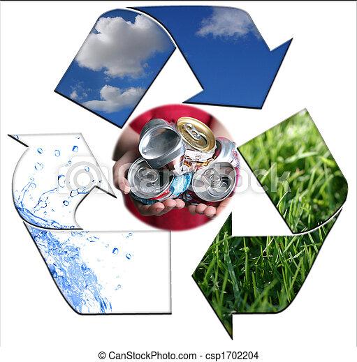 Mantener, ambiente, limpio, con, reciclaje, aluminio - csp1702204