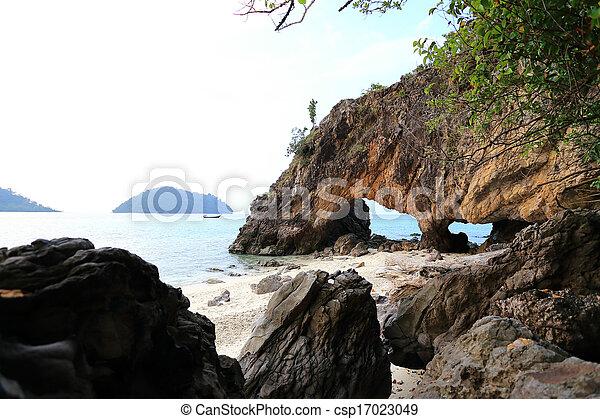 Nature stone arch at Ko Khai island - csp17023049