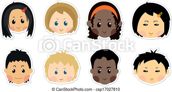 Kids Faces Vector Vector Funny Kids Icons