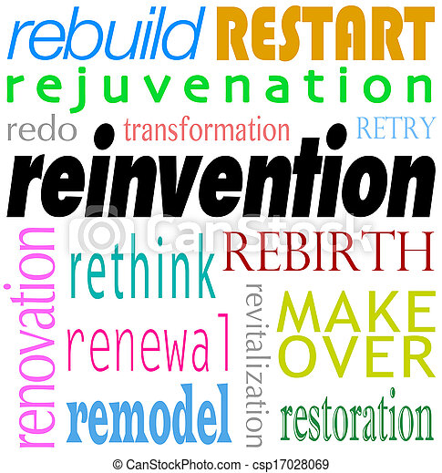 Stock Image of Reinvention Word Background Rebuild Redo Restart ...