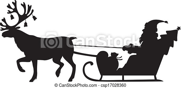 Clip Art Vector of Santa Claus riding a sleigh with reindeer ...