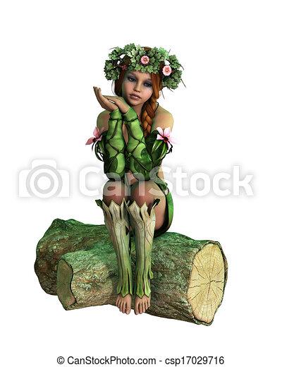 Sitting on a Tree Stump, 3d Computer Graphics - csp17029716