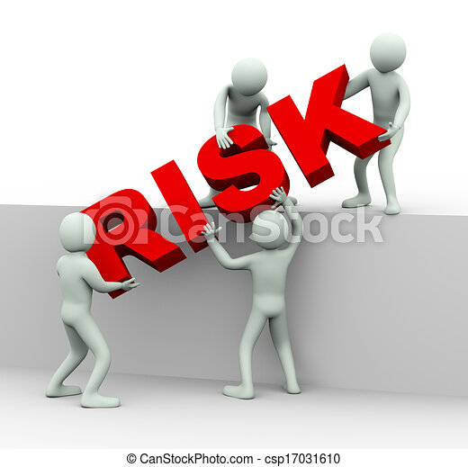 3d people working together to place word risk - csp17031610